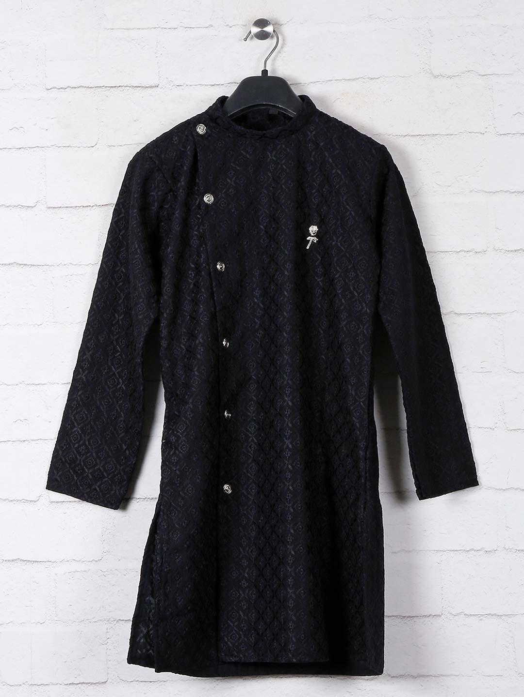 Black cotton lucknowi thread weaving kurta suit?imgeng=w_400