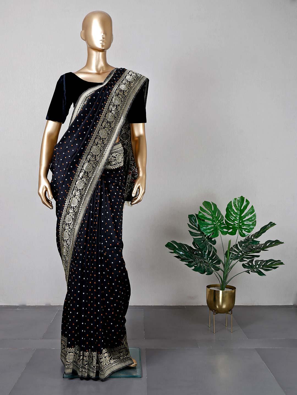 Black cotton silk festive wear saree for women?imgeng=w_400