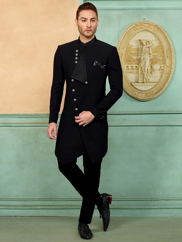 Black designer terry rayon fabric indo western?imgeng=w_400