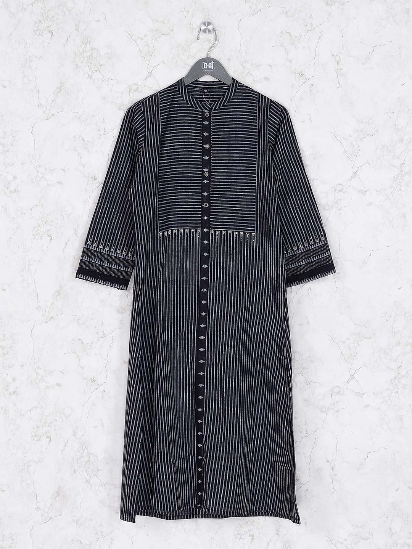 Black hue stripe pattern casual kurti?imgeng=w_400