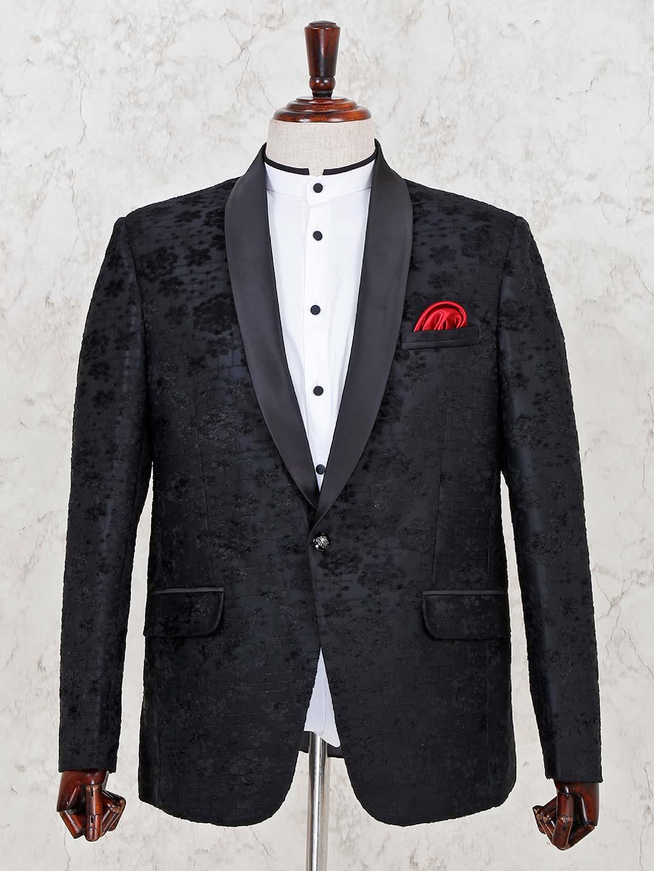 Black hue terry rayon designer blazer?imgeng=w_400