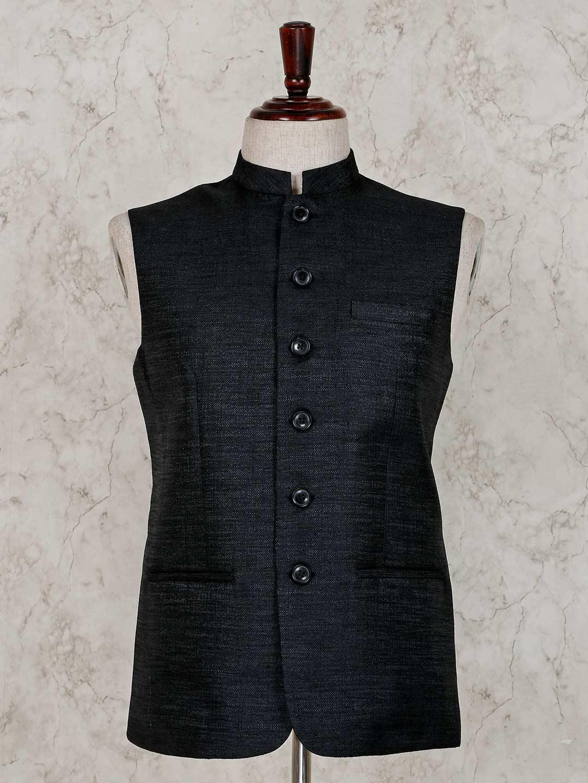 Black solid raw silk party wear waistcoat?imgeng=w_400