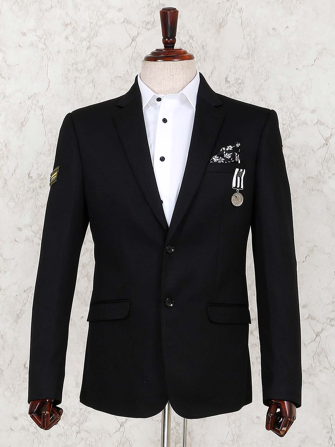Black solid terry rayon blazer for mens?imgeng=w_400