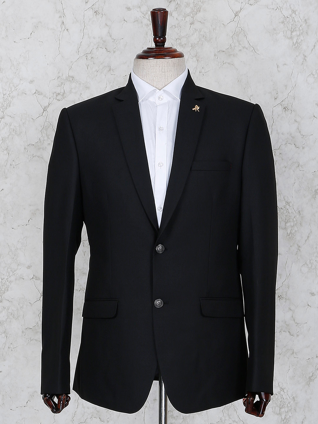Black terry rayon solid party blazer?imgeng=w_400