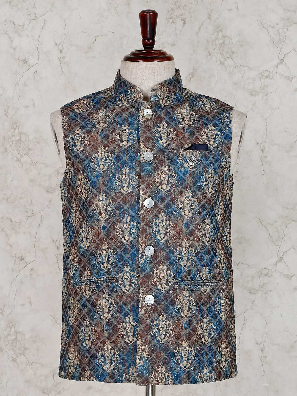 Blue brown thread work waistcoat?imgeng=w_400