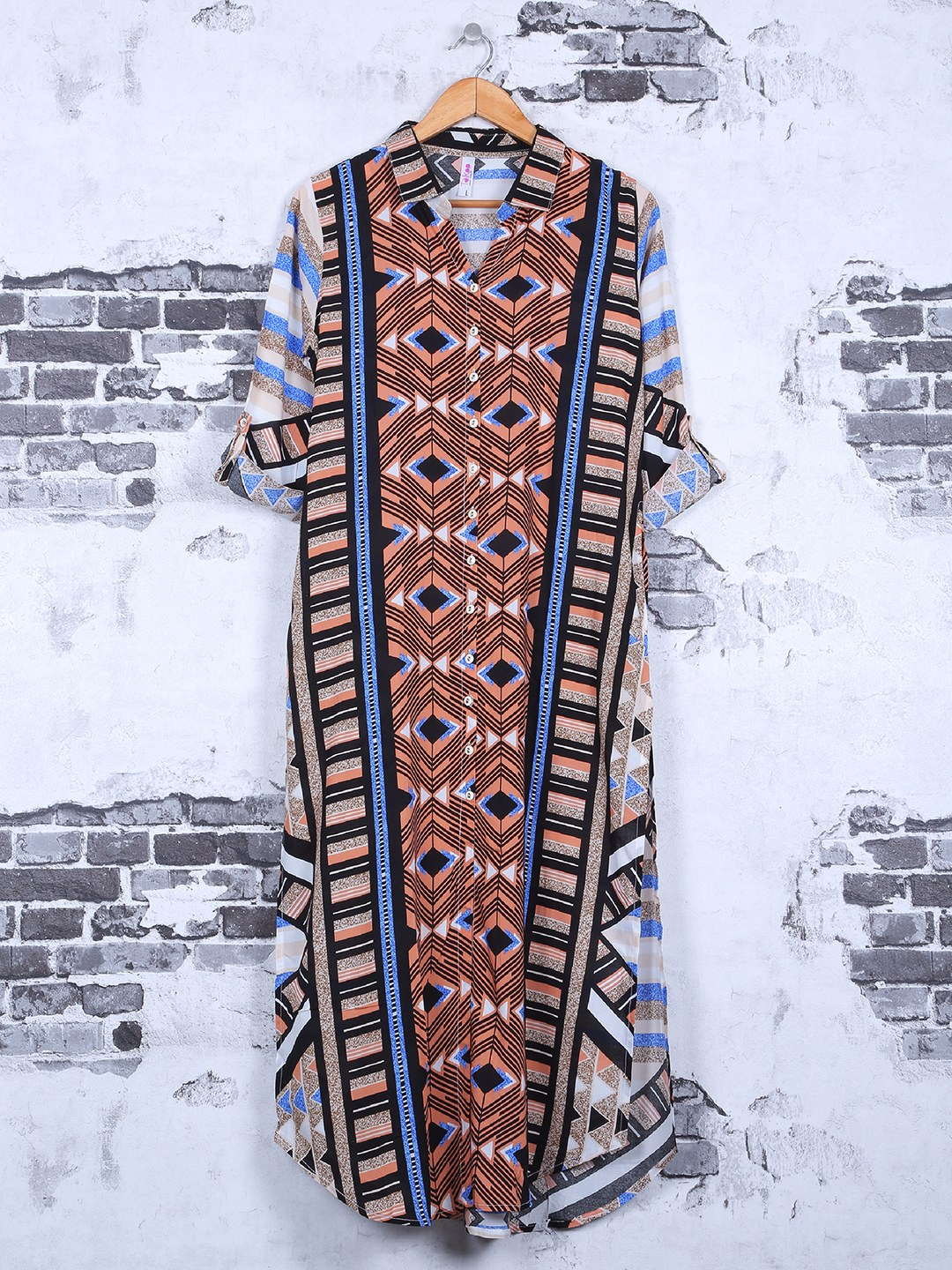 Blue color cotton printed casual kurti?imgeng=w_400