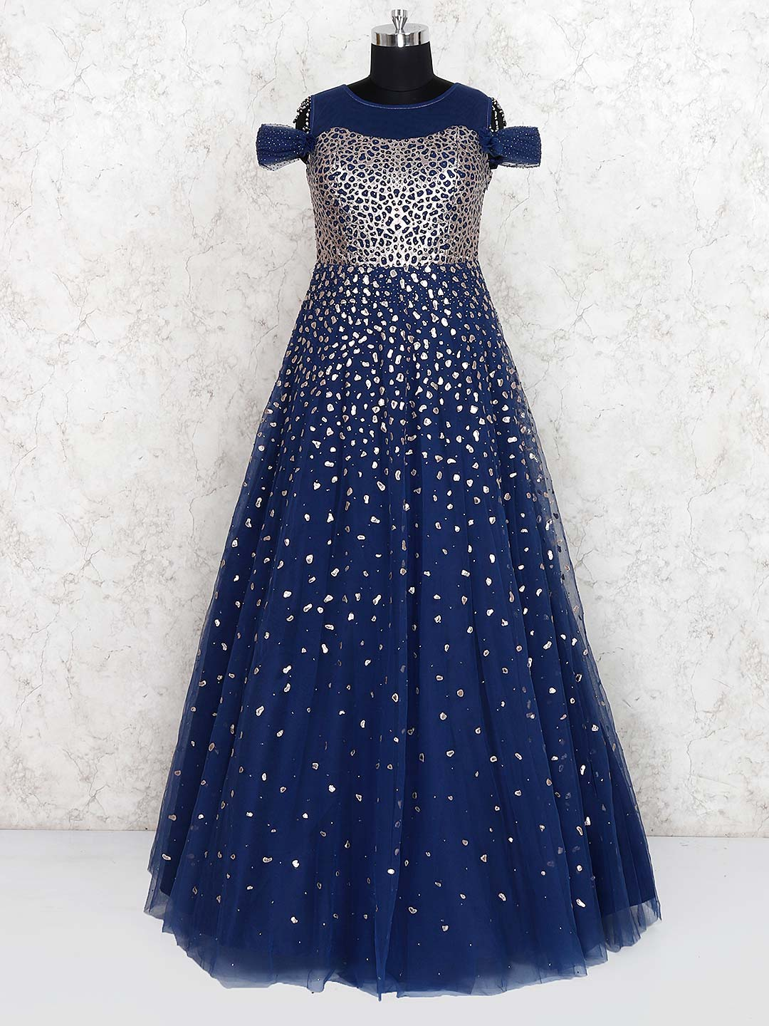 Blue color net fabric party floor length gown?imgeng=w_400