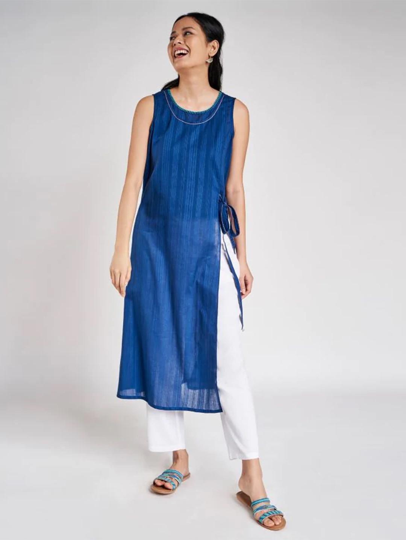 Blue festive wear cotton kurti for women?imgeng=w_400
