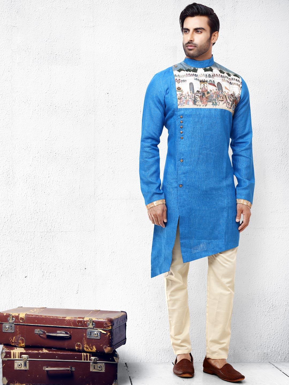 Blue hue cotton silk side cut pattern kurta suit?imgeng=w_400