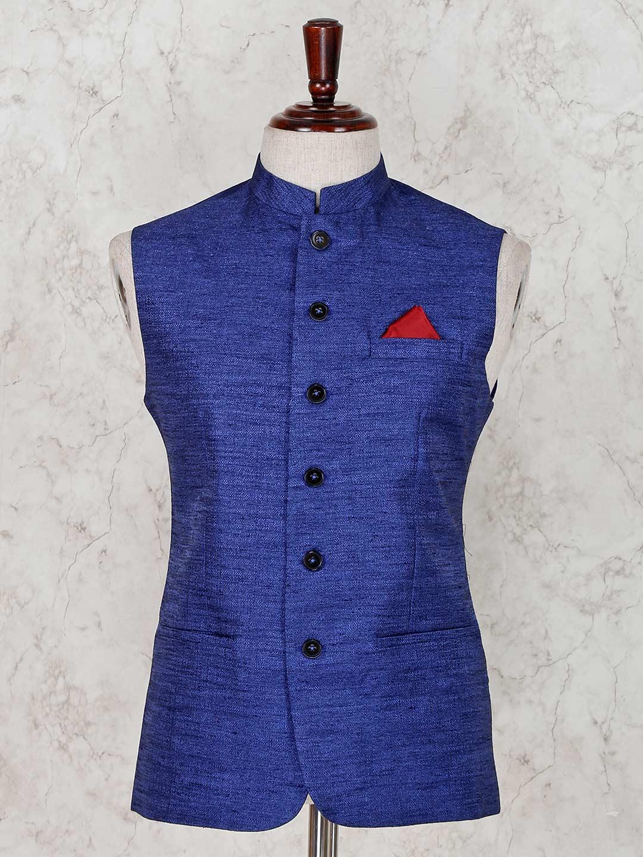 Blue party wear terry rayon waistcoat?imgeng=w_400