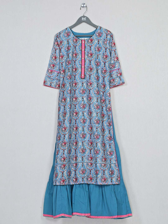 Blue printed cotton kurti for women?imgeng=w_400