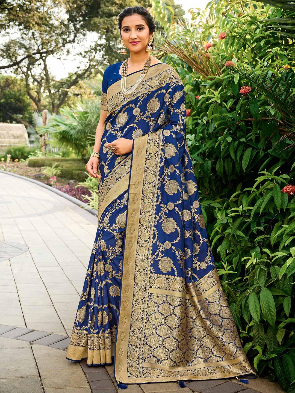 Blue saree for wedding function in banarasi silk?imgeng=w_400
