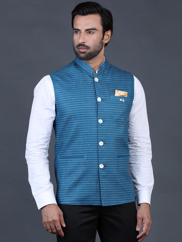 Blue stripe waistcoat in terry rayon?imgeng=w_400
