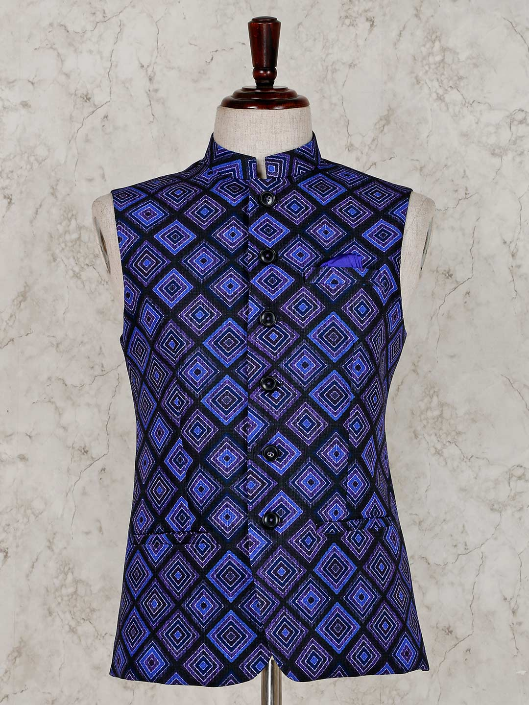 Blue terry rayon stand neck waistcoat?imgeng=w_400