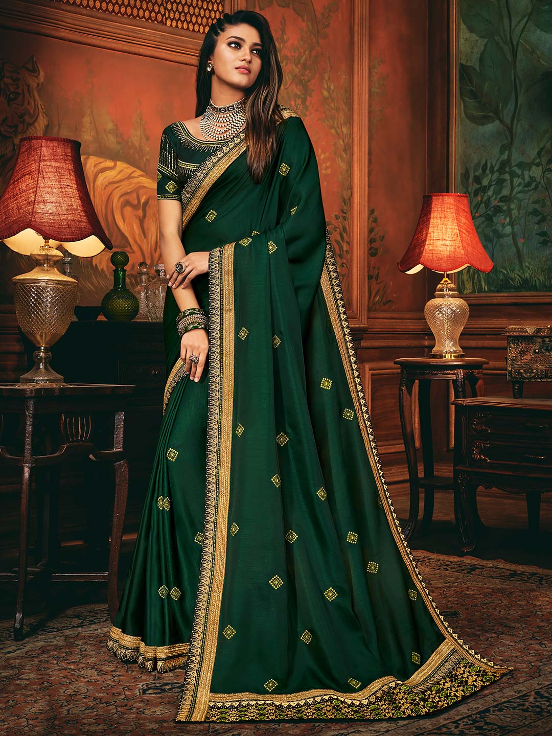 Bottle green colored saree in cotton silk?imgeng=w_400