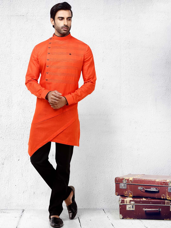 Bright orange hued festive wear kurta suit?imgeng=w_400