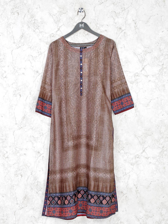 Brown cotton silk casual kurti?imgeng=w_400