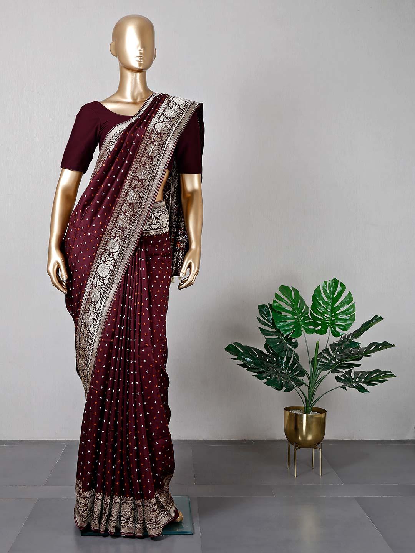 Brown cotton silk women saree?imgeng=w_400