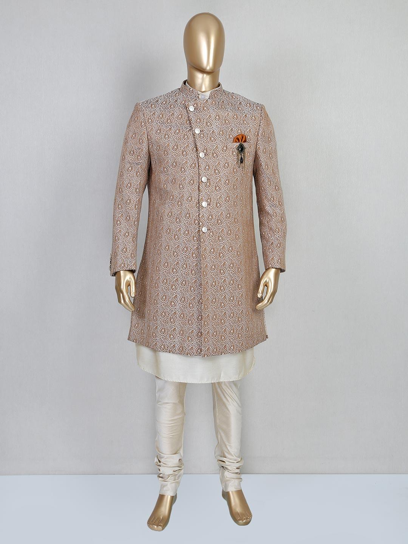 Brown designer silk indo western for wedding?imgeng=w_400