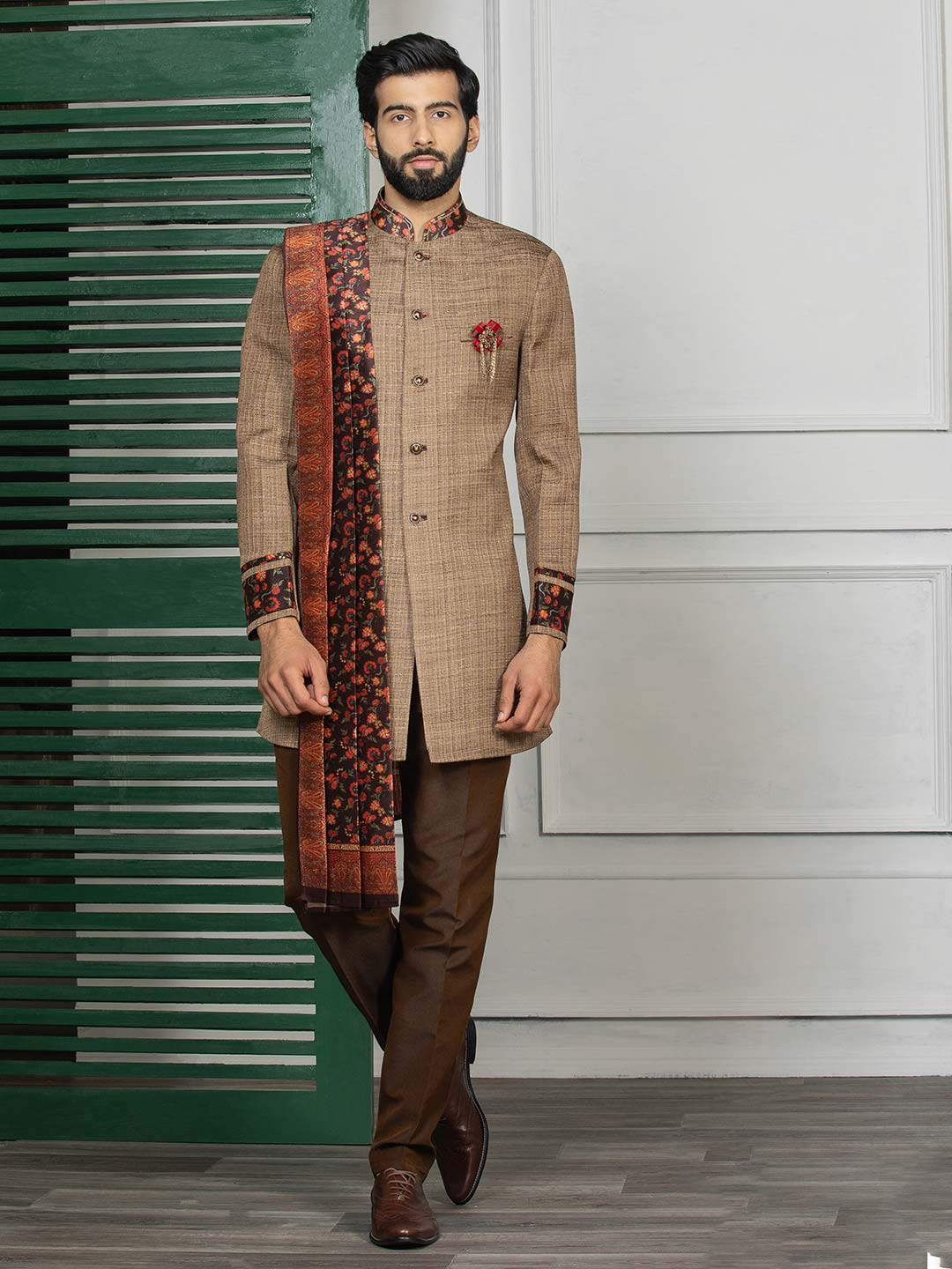 Brown hue solid party wear semi indo western?imgeng=w_400