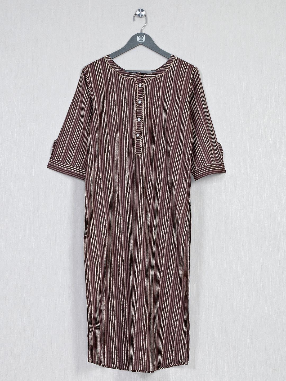 Brown printed cotton kurti for casualwear?imgeng=w_400