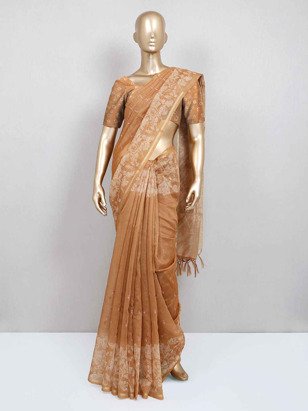Brown printed cotton saree for festive?imgeng=w_400