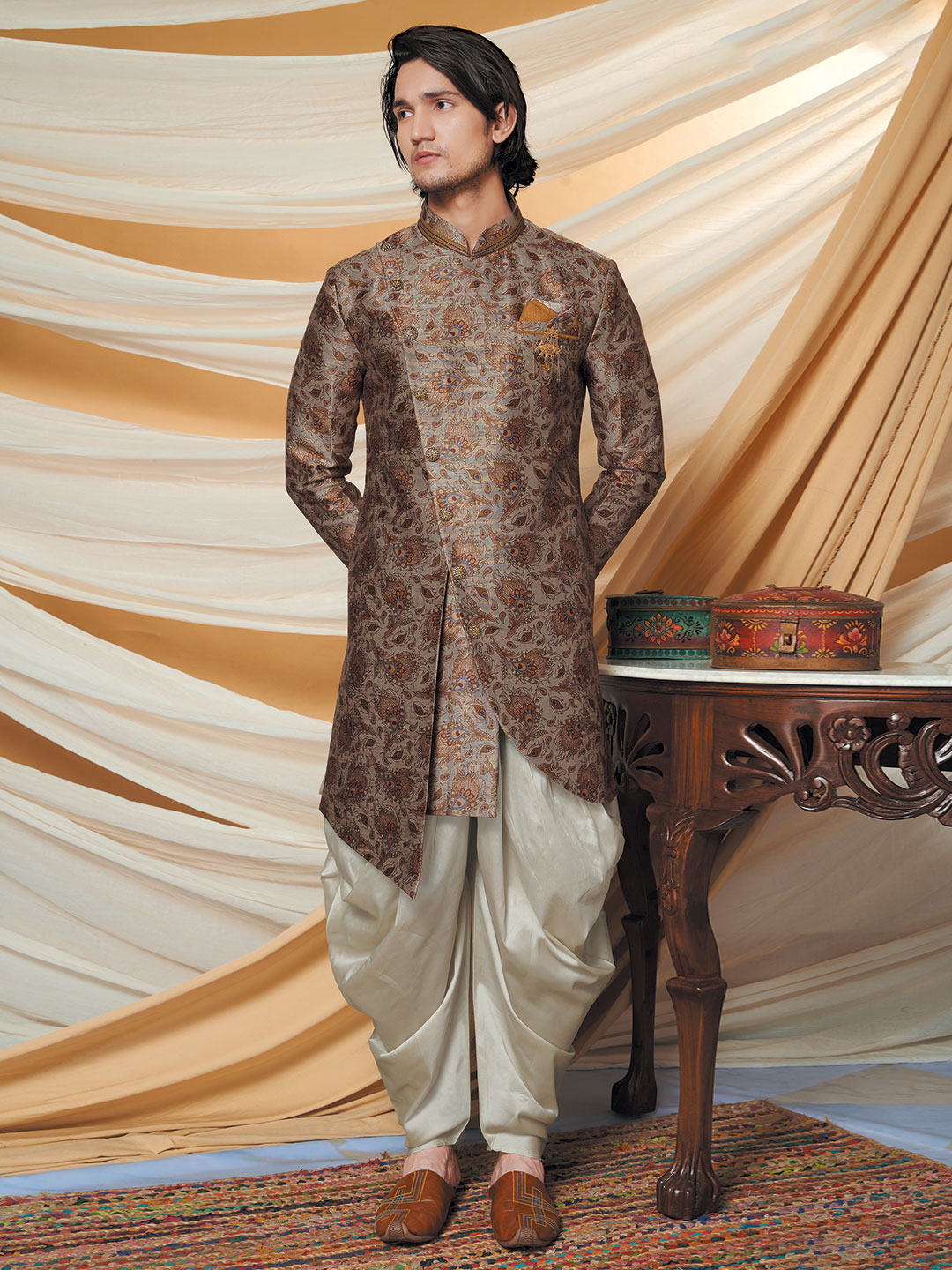 Brown printed cotton silk indo western for wedding?imgeng=w_400