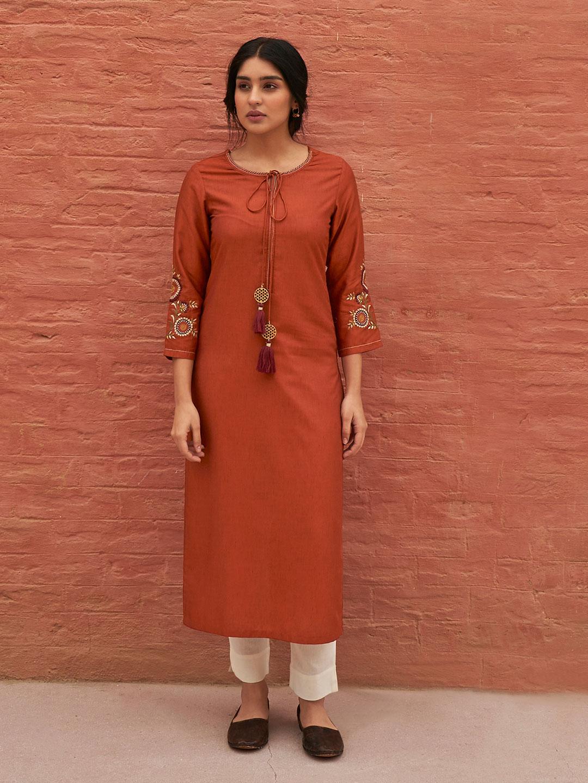 Brown thread work cotton kurti?imgeng=w_400