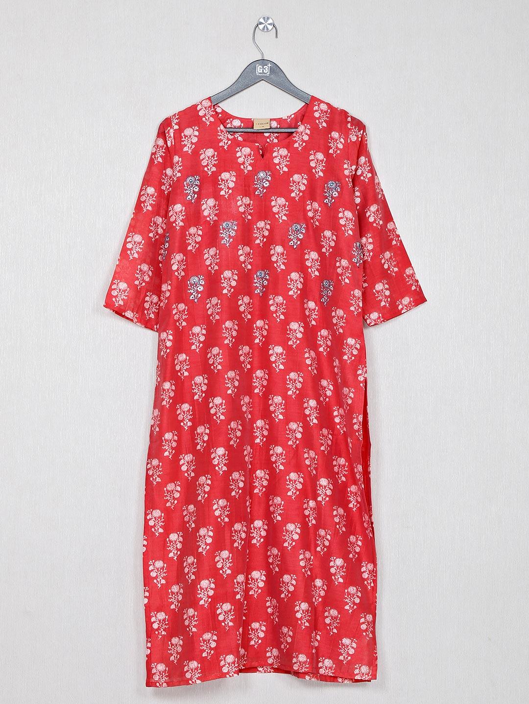 Causal wear printed red cotton kurti?imgeng=w_400