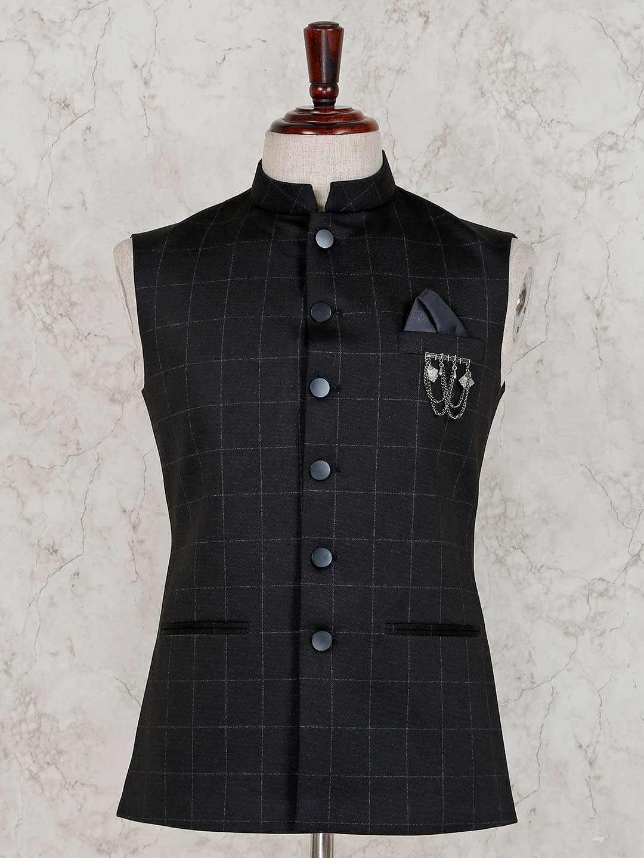 Checks design black terry rayon waistcoat?imgeng=w_400