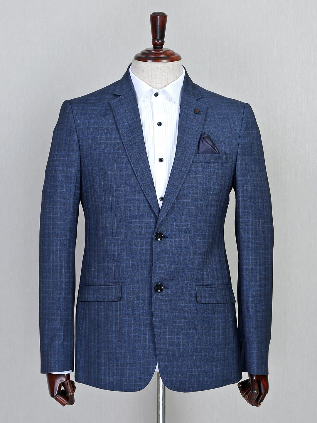 Checks style blue two button terry rayon coat suit?imgeng=w_400