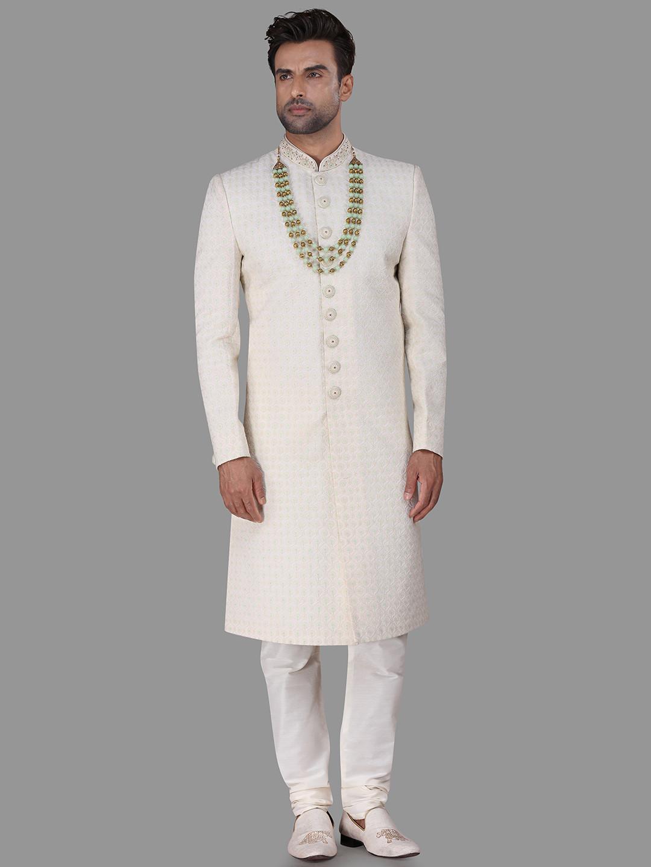 Chikan thread work cream silk sherwani for wedding?imgeng=w_400