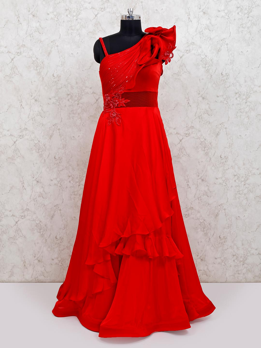 Classic red satin wedding wear flared gown?imgeng=w_400