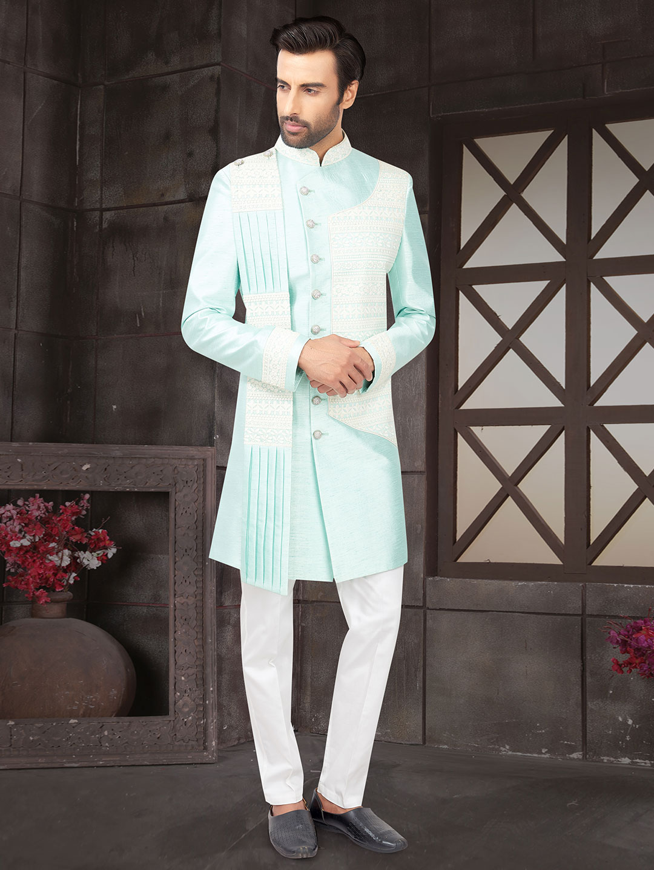 Classy aqua raw silk indo western?imgeng=w_400