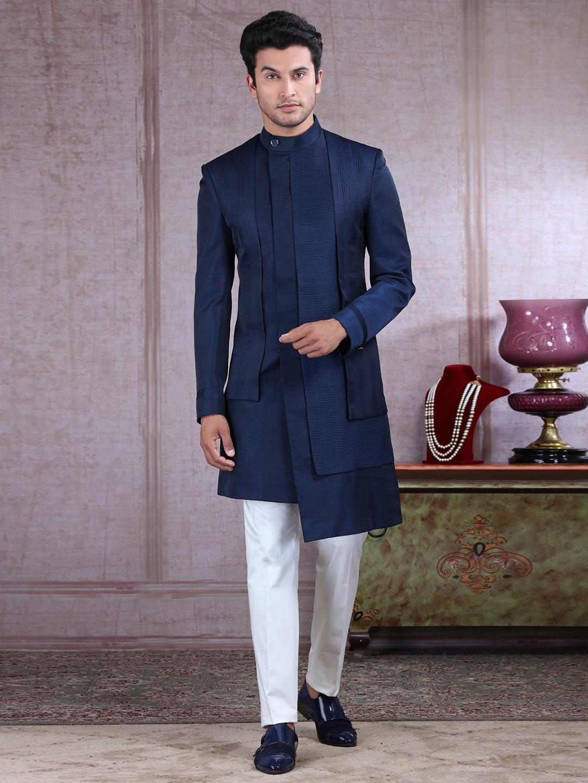 Classy navy raw silk layer style indo western?imgeng=w_400