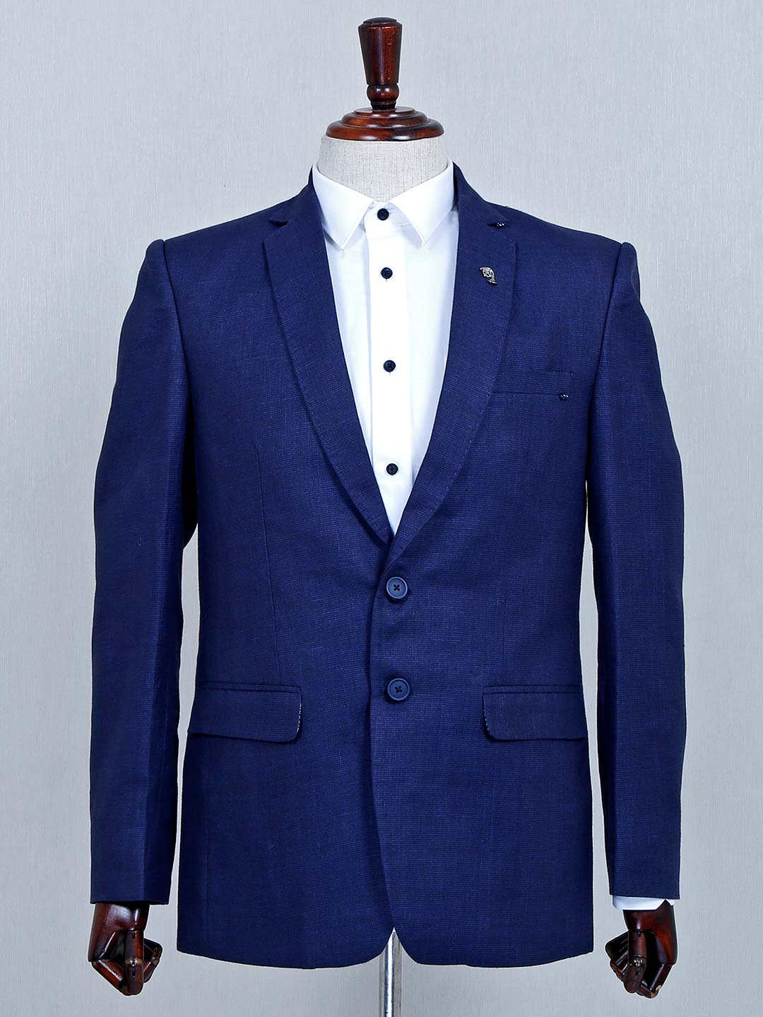 Classy solid navy terry rayon fabric mens blazer?imgeng=w_400