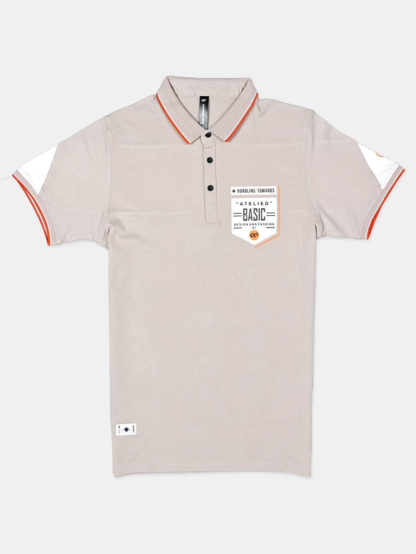 Cookyss printed beige half sleeve polo t-shirt?imgeng=w_400