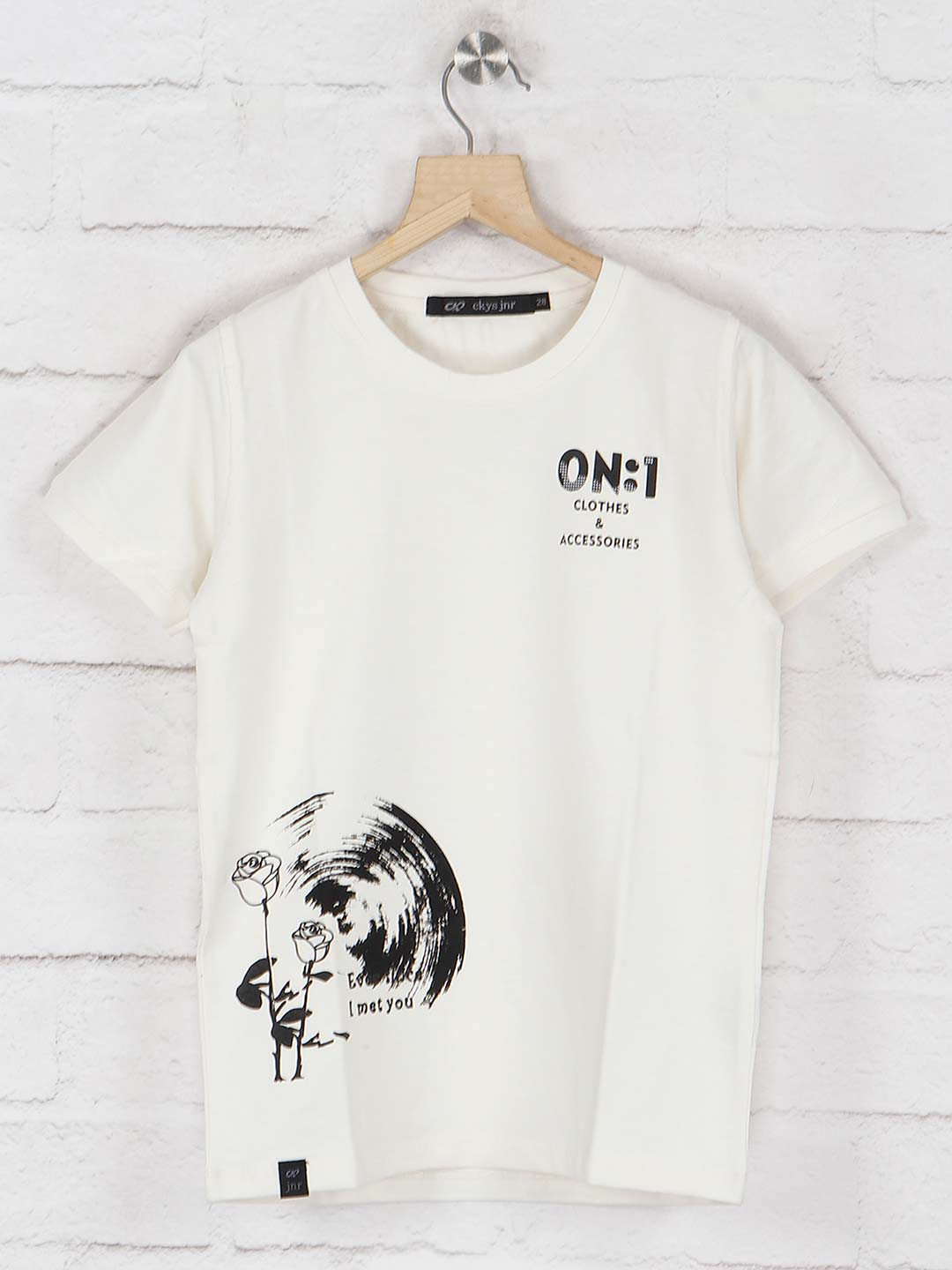 Cookyss slim fit printed off white t-shirt?imgeng=w_400