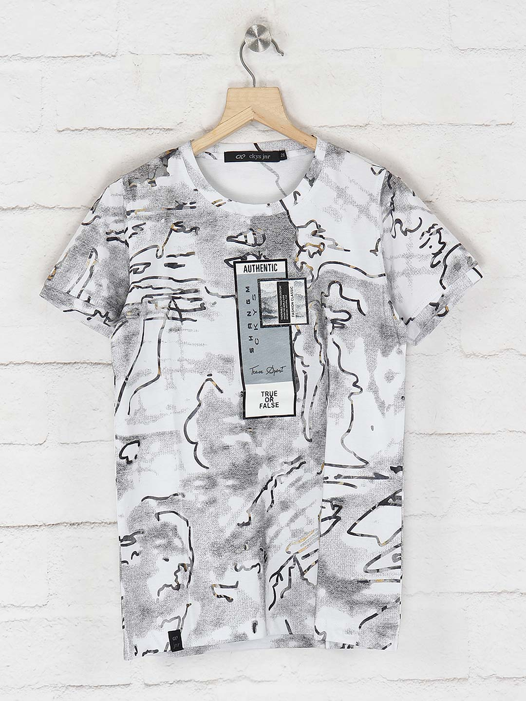 Cookyss white color printed slim fit t-shirt?imgeng=w_400