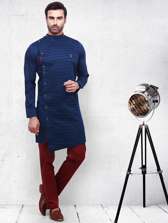 Cotton navy color pleats style kurta suit?imgeng=w_400
