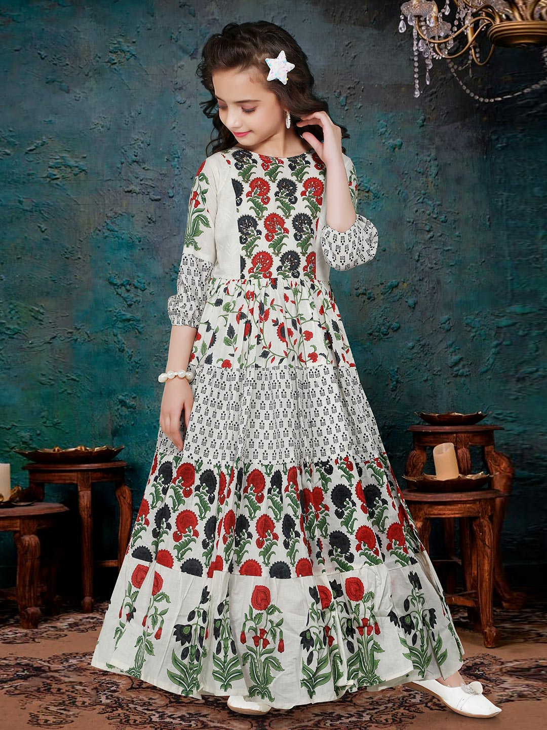Cotton printed gown for girls?imgeng=w_400