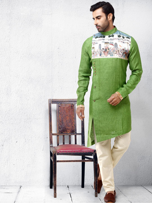 Cotton silk fabric light green kurta suit?imgeng=w_400