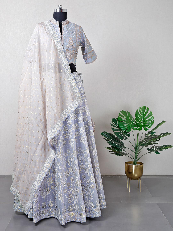 Cotton silk grey wedding lehenga choli?imgeng=w_400