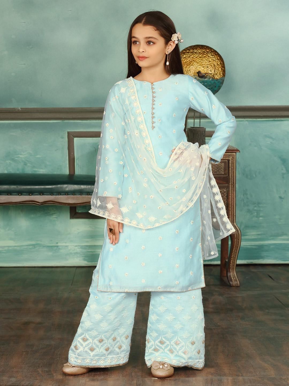 Cotton silk sky blue punjabi palazzo suit?imgeng=w_400