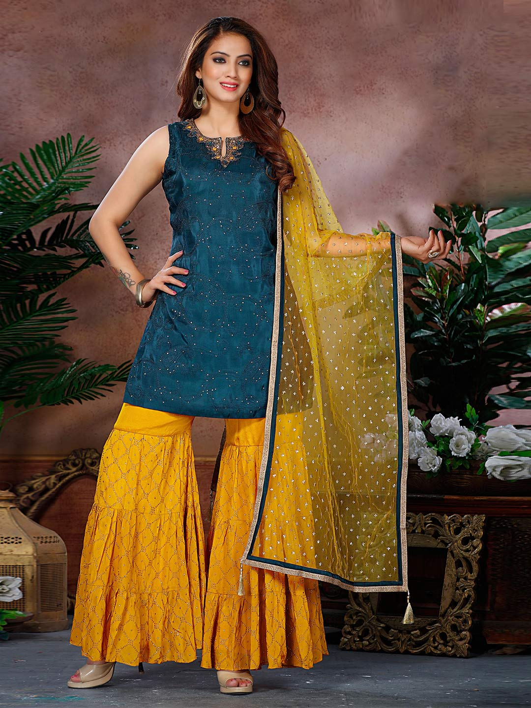 Cotton silk yellow and navy sharara suit?imgeng=w_400