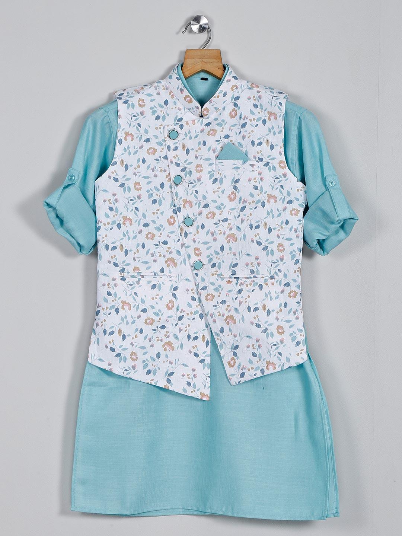 Cotton white and sea green printed waistcoat set?imgeng=w_400
