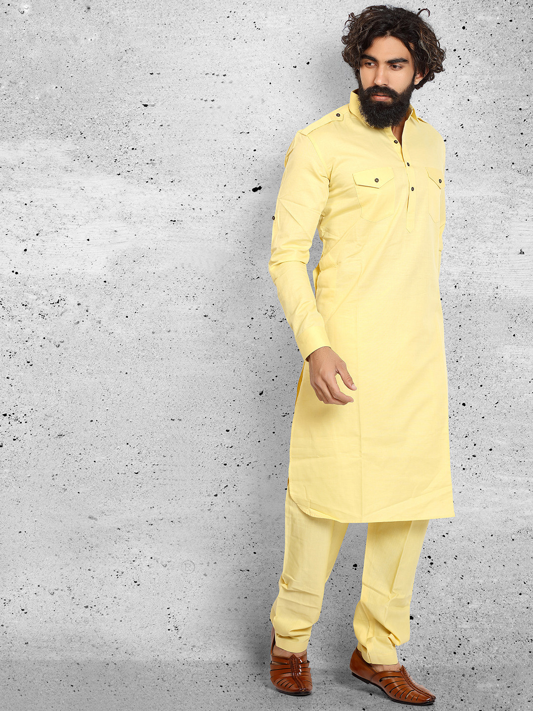 Cotton yellow solid pathani suit?imgeng=w_400