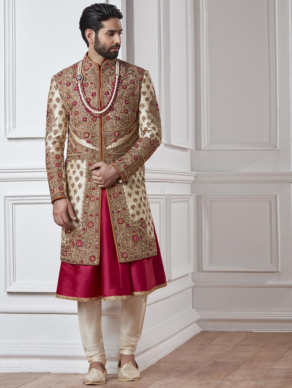 Cream and maroon silk sherwani?imgeng=w_400