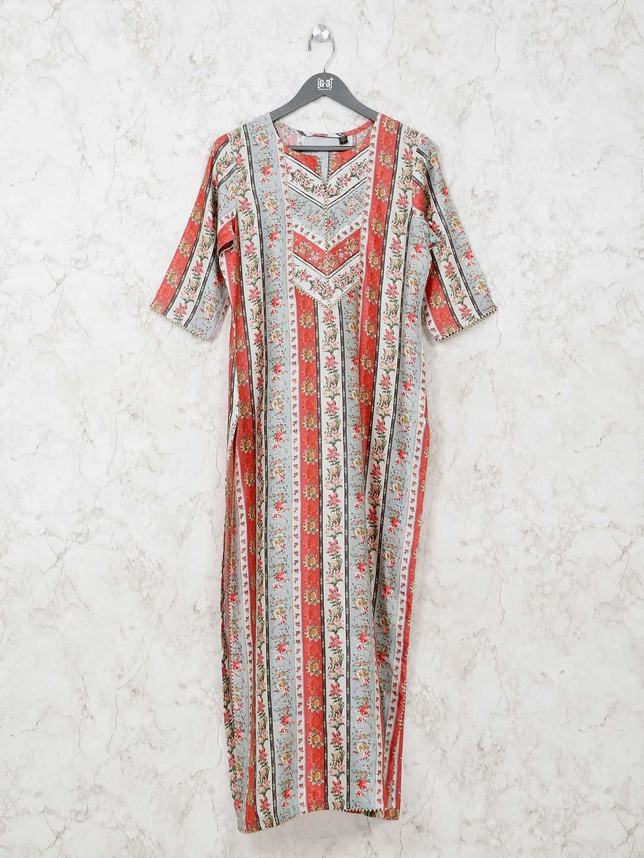 Cream and red printed cotton kurti?imgeng=w_400