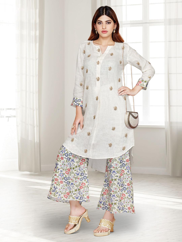 Cream cotton festive wear punjabi palazzo suit?imgeng=w_400